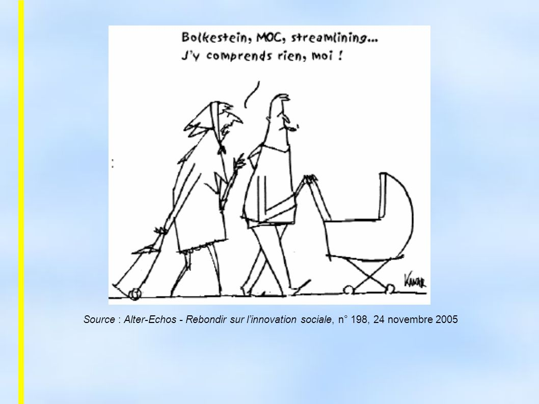 Source : Alter-Echos - Rebondir sur l'innovation sociale, n° 198, 24 novembre 2005