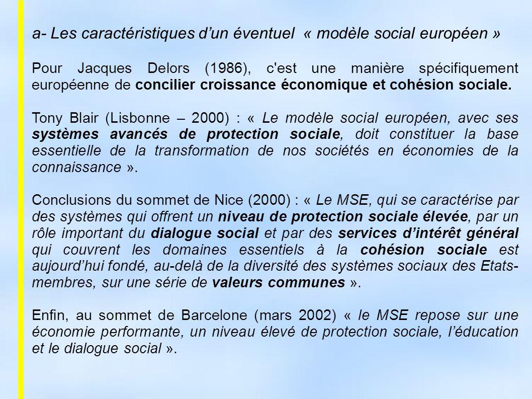 a- Les caractéristiques d'un éventuel « modèle social européen »
