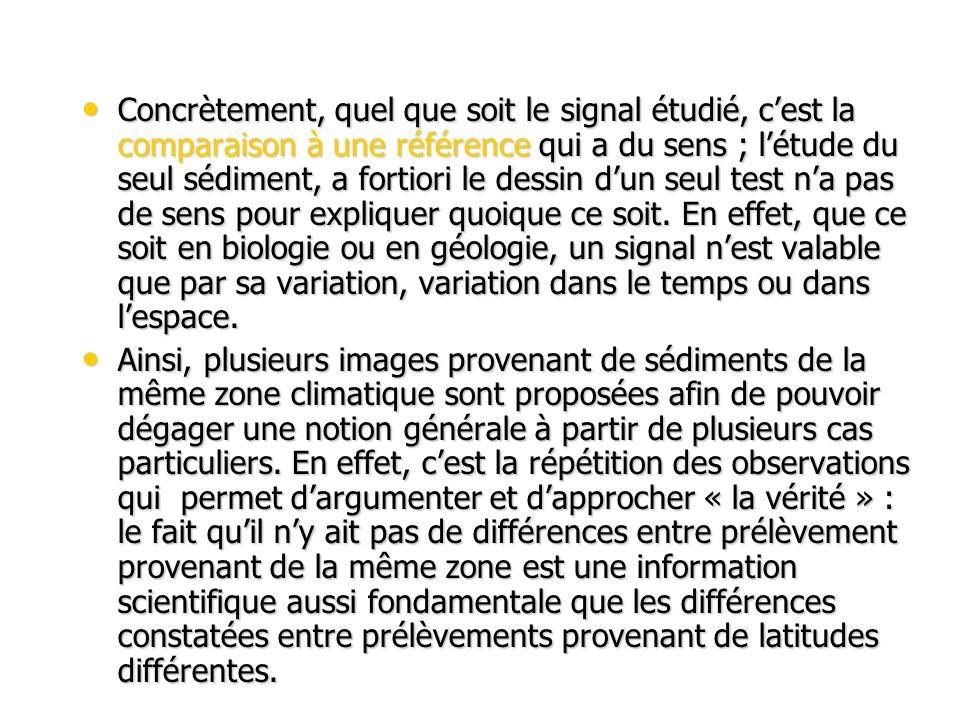 Concrètement, quel que soit le signal étudié, c'est la comparaison à une référence qui a du sens ; l'étude du seul sédiment, a fortiori le dessin d'un seul test n'a pas de sens pour expliquer quoique ce soit. En effet, que ce soit en biologie ou en géologie, un signal n'est valable que par sa variation, variation dans le temps ou dans l'espace.