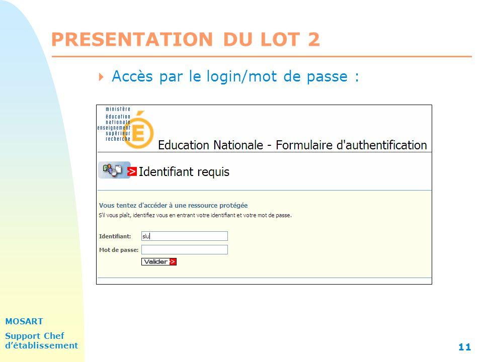 PRESENTATION DU LOT 2 31/03/2017 Accès par le login/mot de passe :