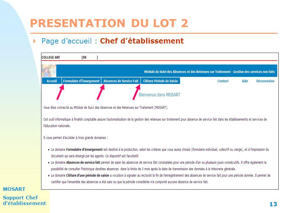 PRESENTATION DU LOT 2 31/03/2017 Page d'accueil : Chef d'établissement
