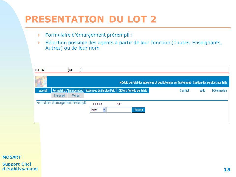 PRESENTATION DU LOT 2 Formulaire d'émargement prérempli :