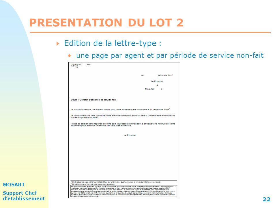 PRESENTATION DU LOT 2 Edition de la lettre-type :