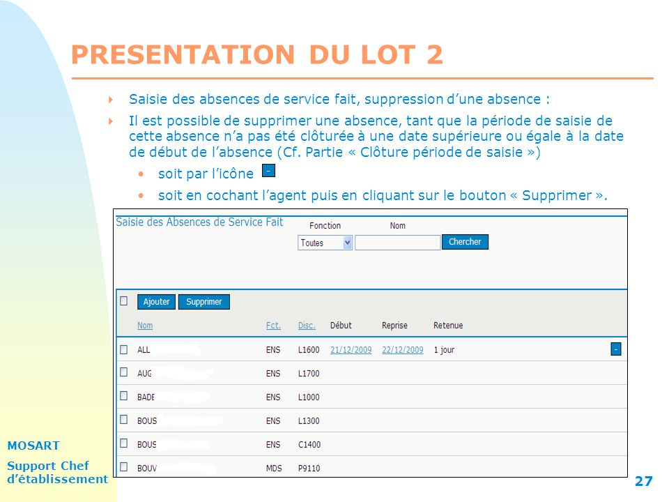 PRESENTATION DU LOT 2 31/03/2017. Saisie des absences de service fait, suppression d'une absence :