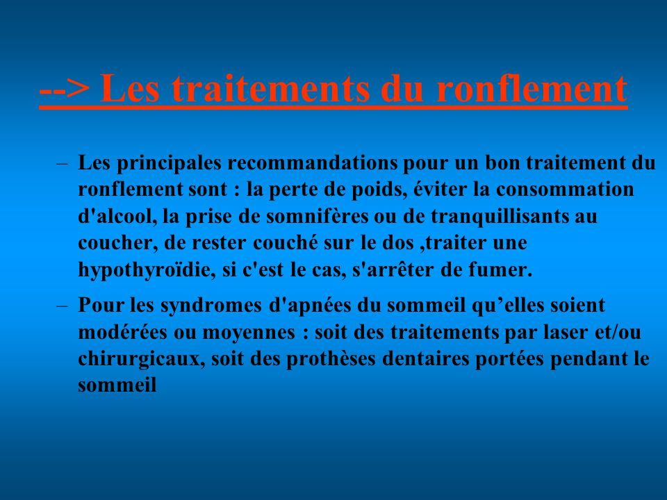 --> Les traitements du ronflement