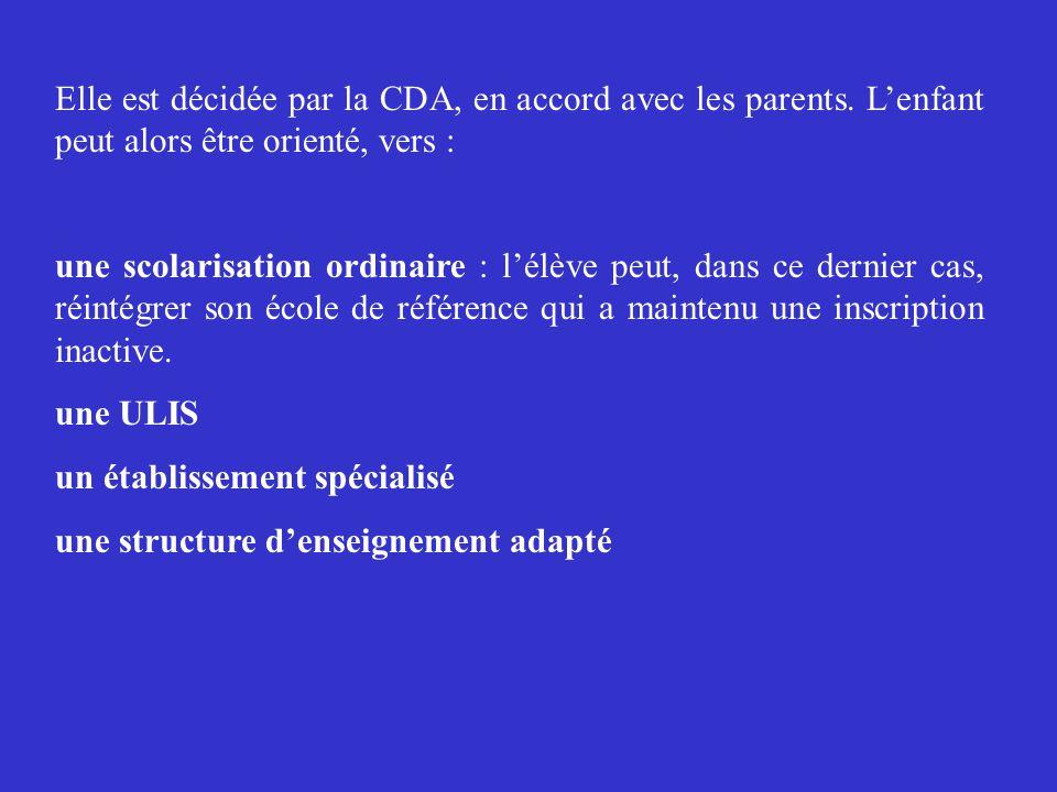 Elle est décidée par la CDA, en accord avec les parents