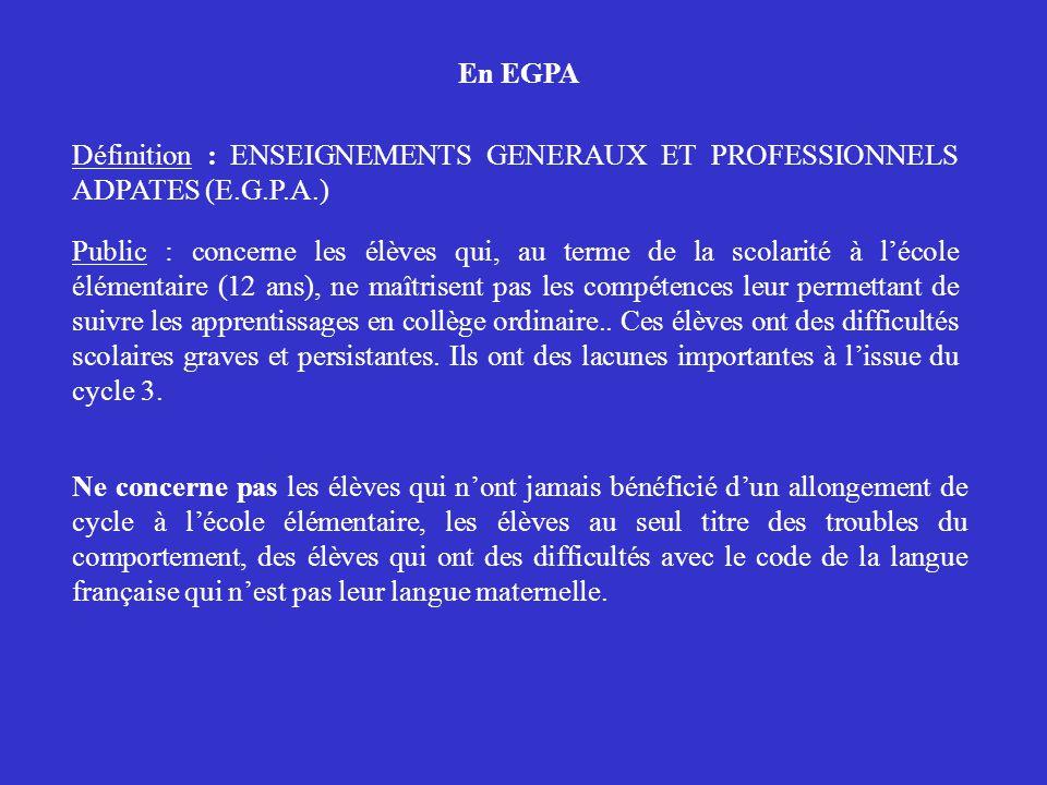 En EGPA Définition : ENSEIGNEMENTS GENERAUX ET PROFESSIONNELS ADPATES (E.G.P.A.)