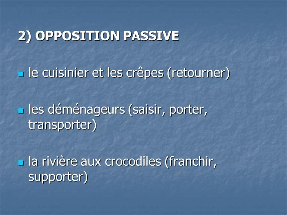 2) OPPOSITION PASSIVE le cuisinier et les crêpes (retourner) les déménageurs (saisir, porter, transporter)