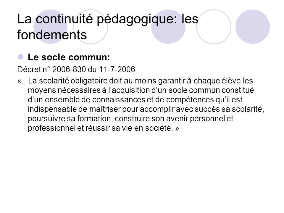 La continuité pédagogique: les fondements