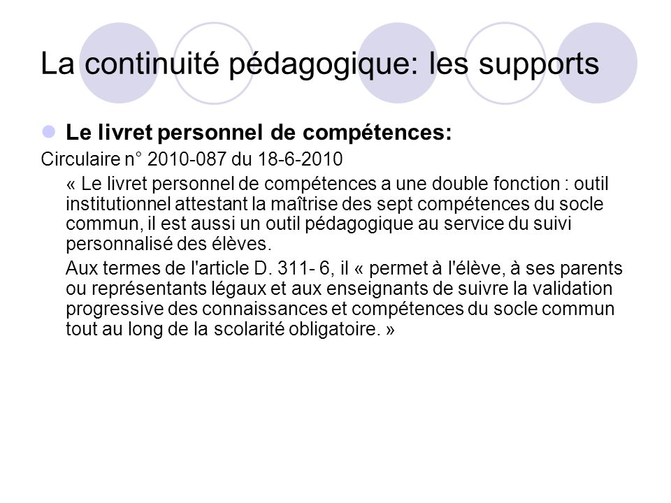 La continuité pédagogique: les supports