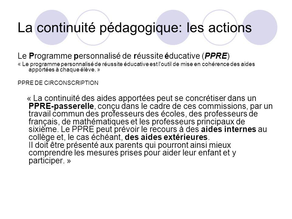 La continuité pédagogique: les actions
