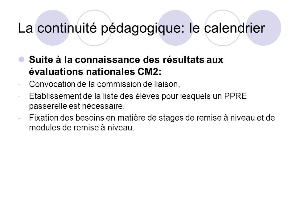 La continuité pédagogique: le calendrier