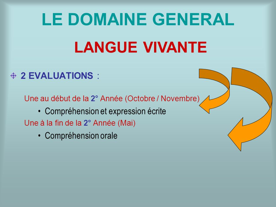 LE DOMAINE GENERAL LANGUE VIVANTE 2 EVALUATIONS :