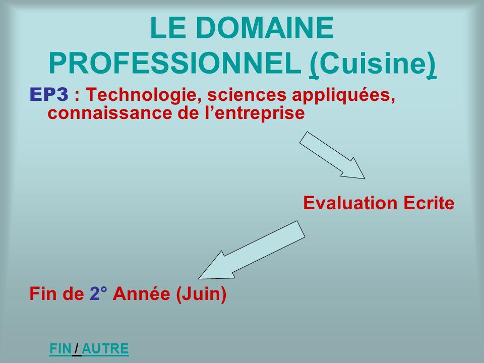 LE DOMAINE PROFESSIONNEL (Cuisine)
