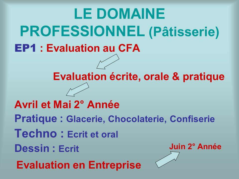 LE DOMAINE PROFESSIONNEL (Pâtisserie)