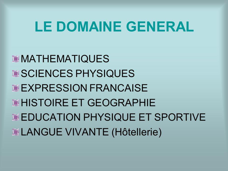 LE DOMAINE GENERAL MATHEMATIQUES SCIENCES PHYSIQUES