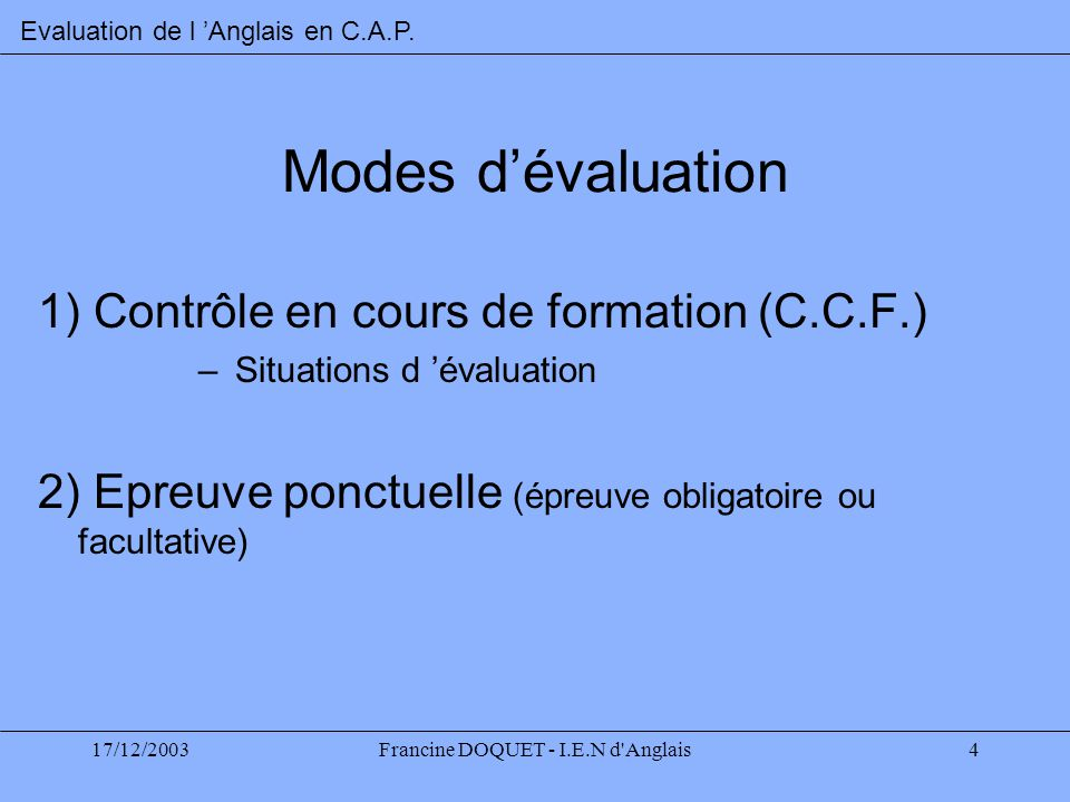 Francine DOQUET - I.E.N d Anglais