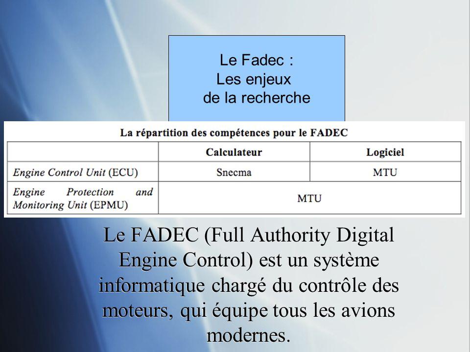Le Fadec : Les enjeux. de la recherche.