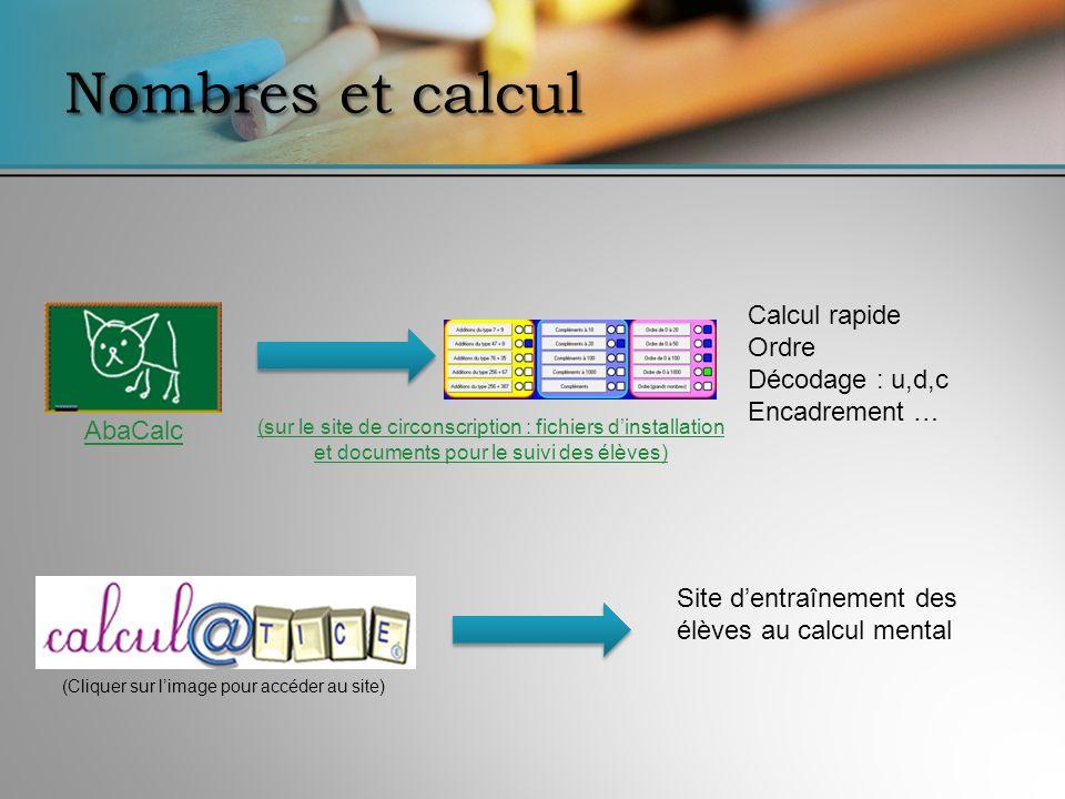 Nombres et calcul Calcul rapide Ordre Décodage : u,d,c Encadrement …