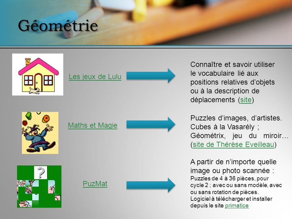 Géométrie Connaître et savoir utiliser le vocabulaire lié aux positions relatives d'objets ou à la description de déplacements (site)