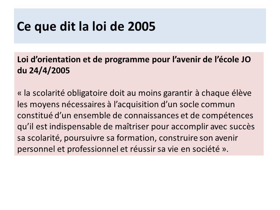 Ce que dit la loi de 2005 Loi d'orientation et de programme pour l'avenir de l'école JO du 24/4/2005.