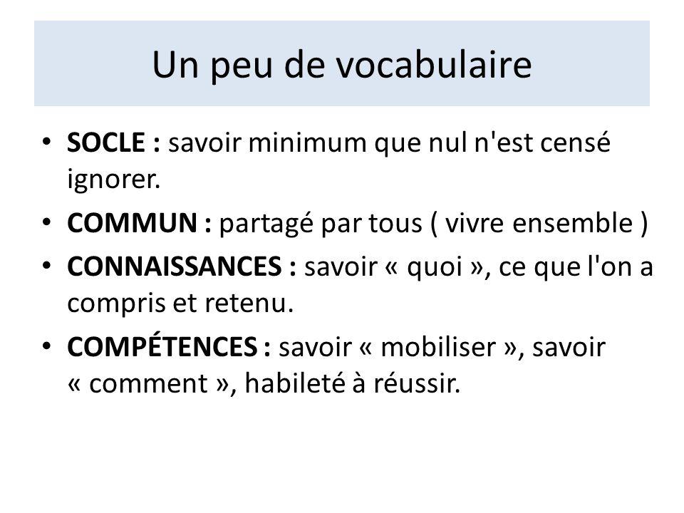 Un peu de vocabulaire SOCLE : savoir minimum que nul n est censé ignorer. COMMUN : partagé par tous ( vivre ensemble )