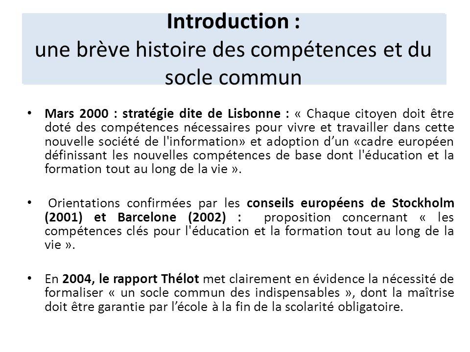Introduction : une brève histoire des compétences et du socle commun
