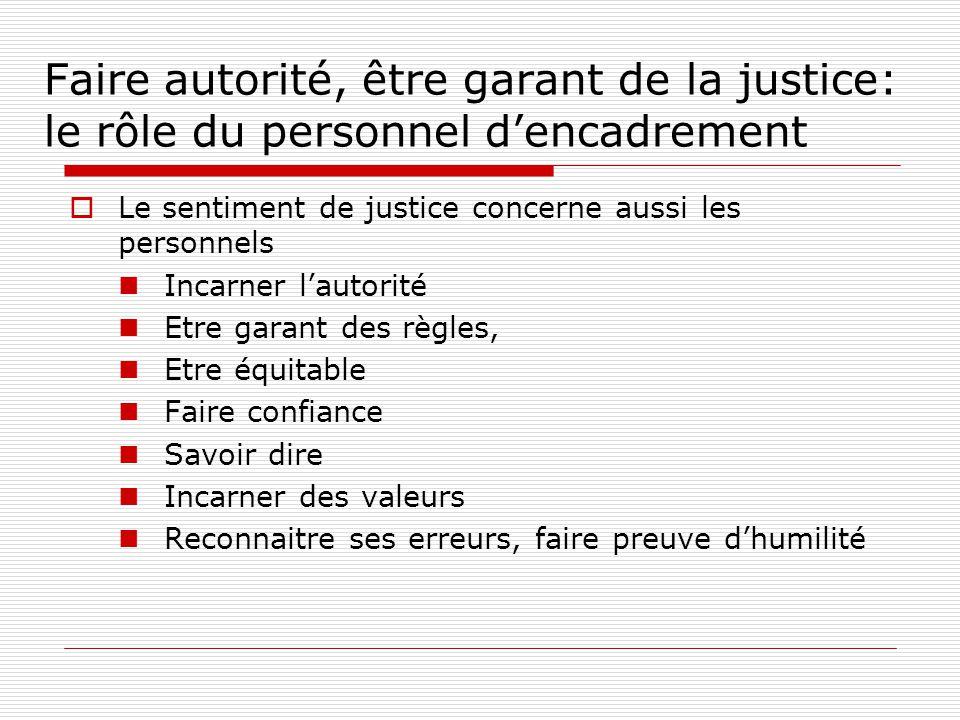 Faire autorité, être garant de la justice: le rôle du personnel d'encadrement