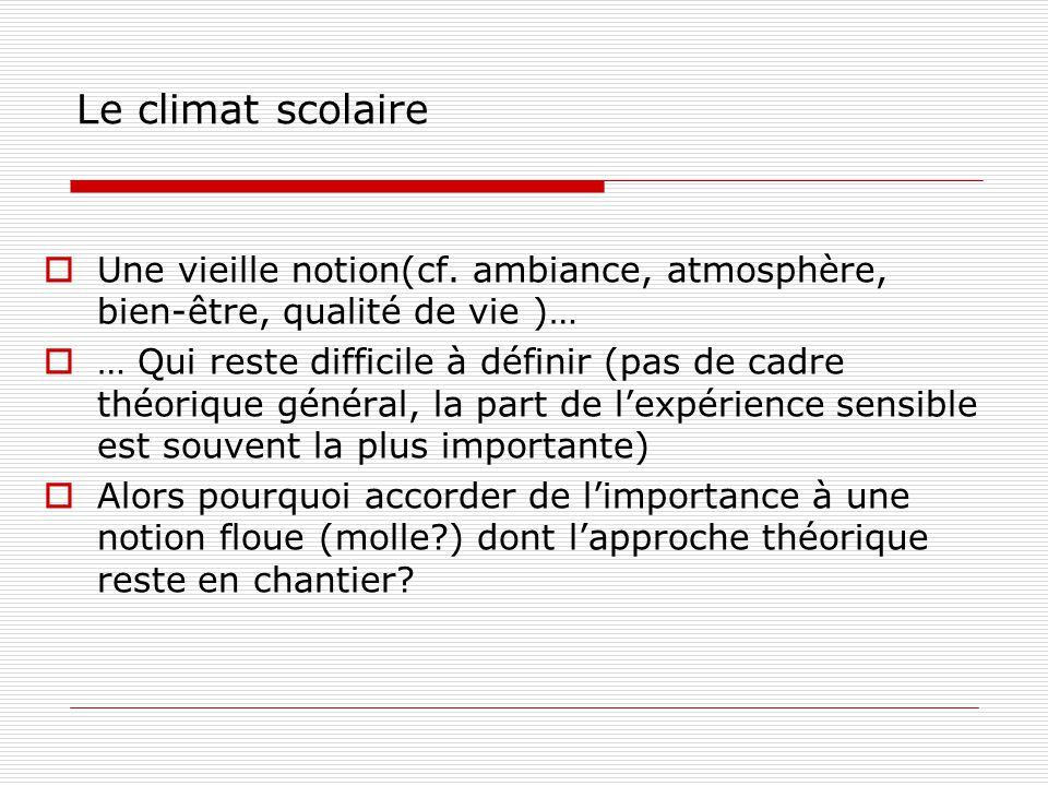 Le climat scolaire Une vieille notion(cf. ambiance, atmosphère, bien-être, qualité de vie )…