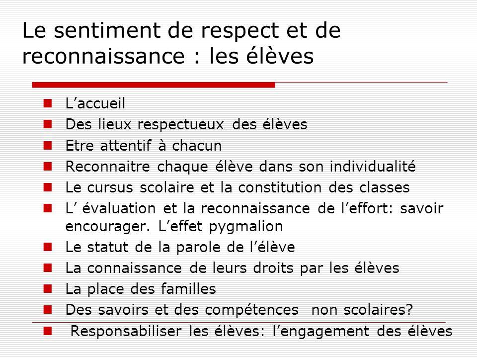 Le sentiment de respect et de reconnaissance : les élèves