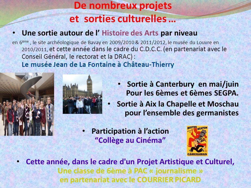 et sorties culturelles … Participation à l'action Collège au Cinéma