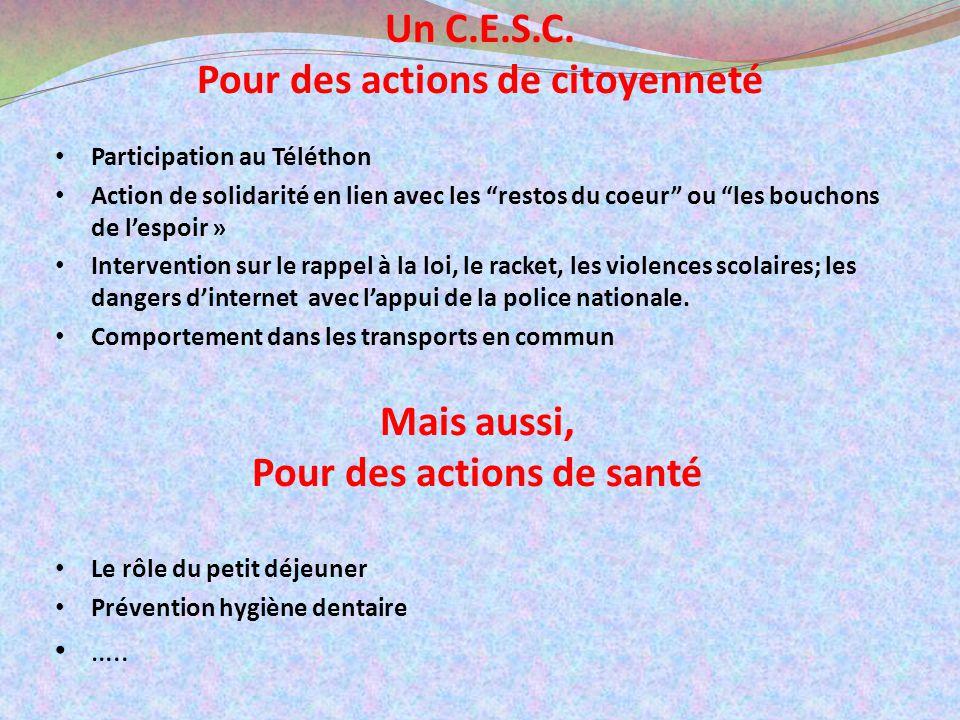 Un C.E.S.C. Pour des actions de citoyenneté