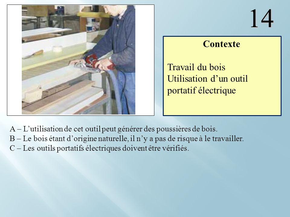 14 Contexte Travail du bois Utilisation d'un outil portatif électrique
