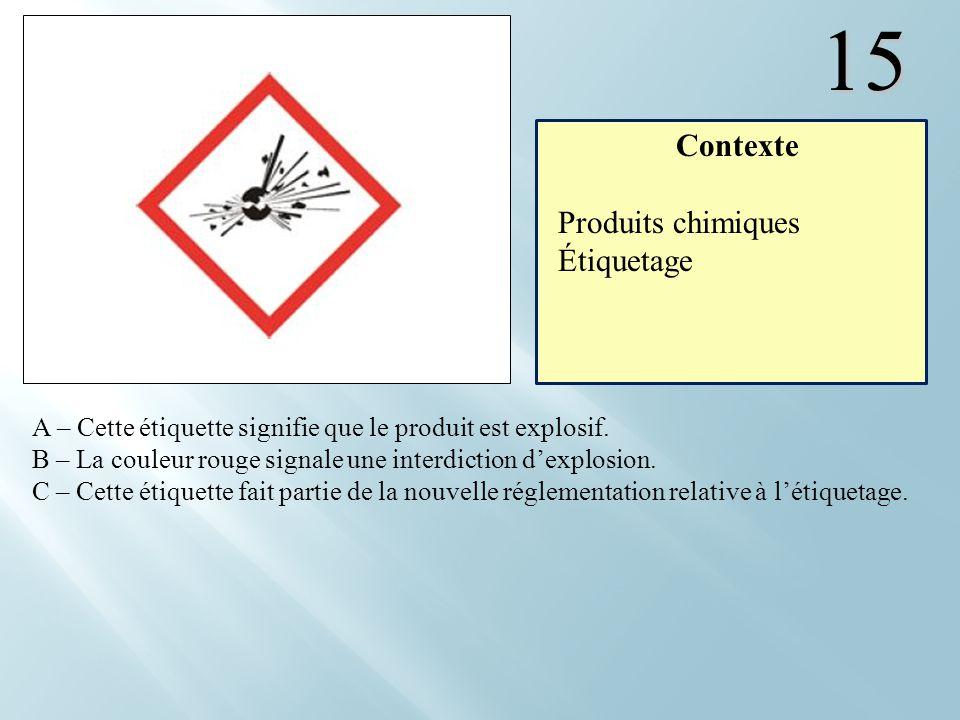 15 Contexte Produits chimiques Étiquetage