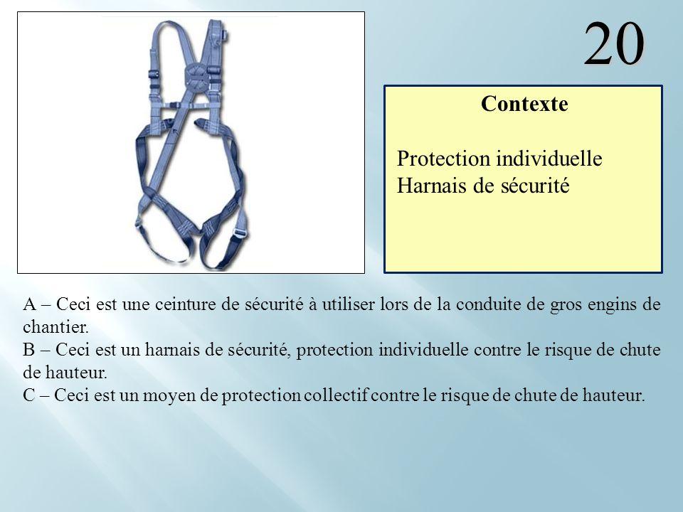 20 Contexte Protection individuelle Harnais de sécurité