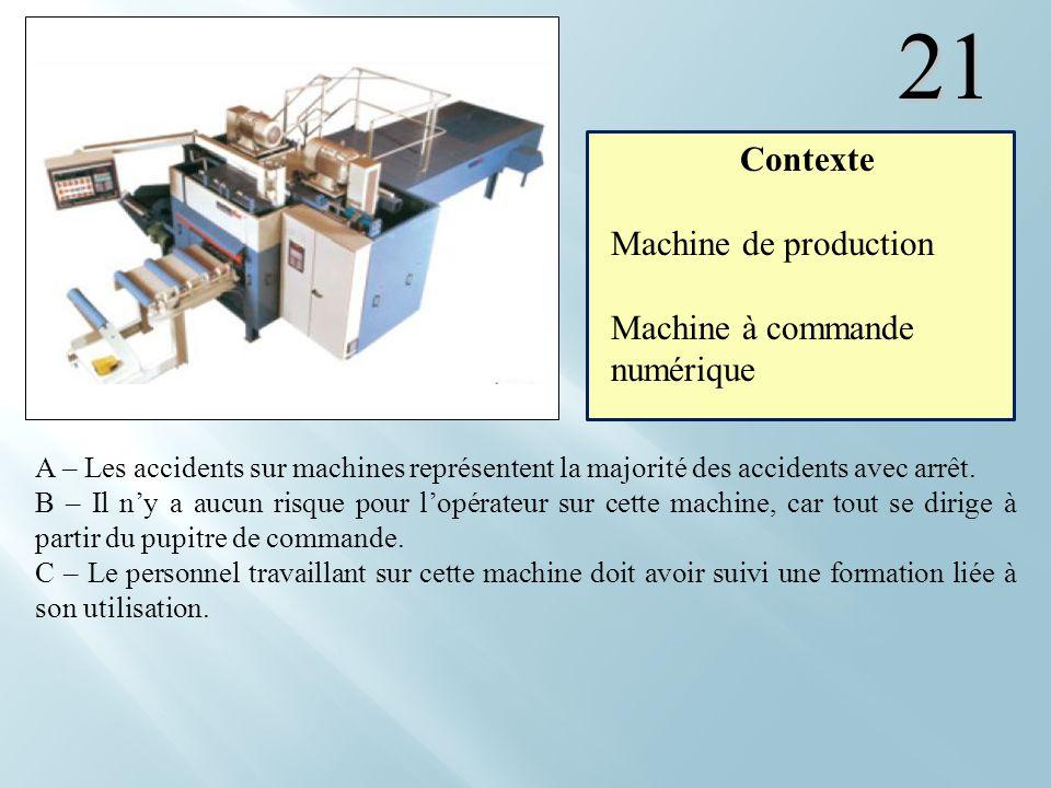 21 Contexte Machine de production Machine à commande numérique