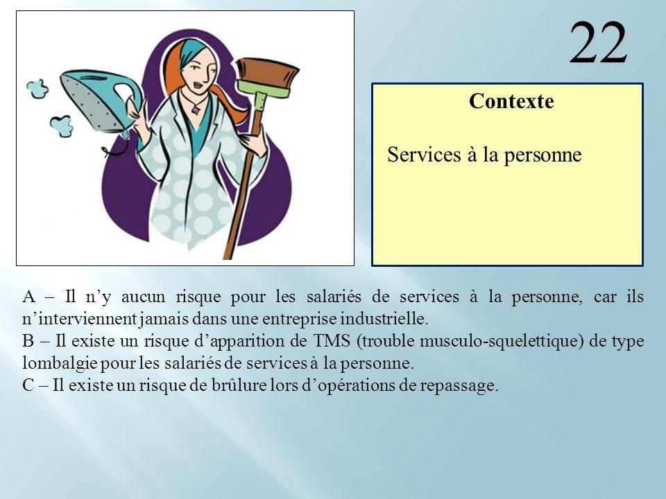 22 Contexte Services à la personne