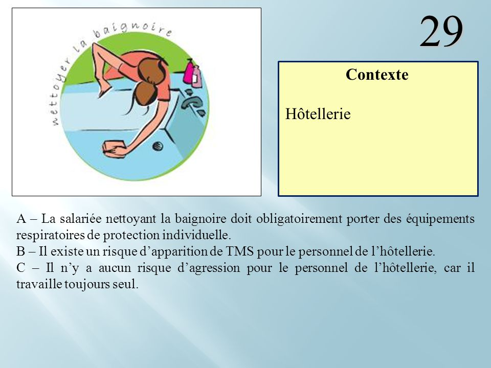 29 Contexte. Hôtellerie.