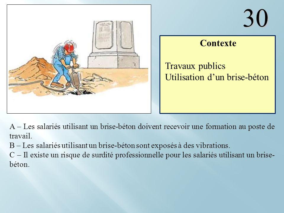 30 Contexte Travaux publics Utilisation d'un brise-béton