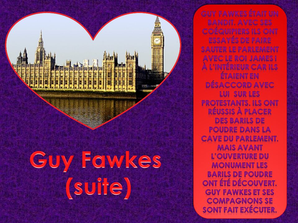 Guy fawkes et ses compagnons se sont fait exécuter.