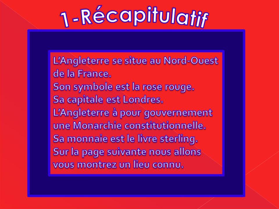 1-Récapitulatif L'Angleterre se situe au Nord-Ouest de la France.