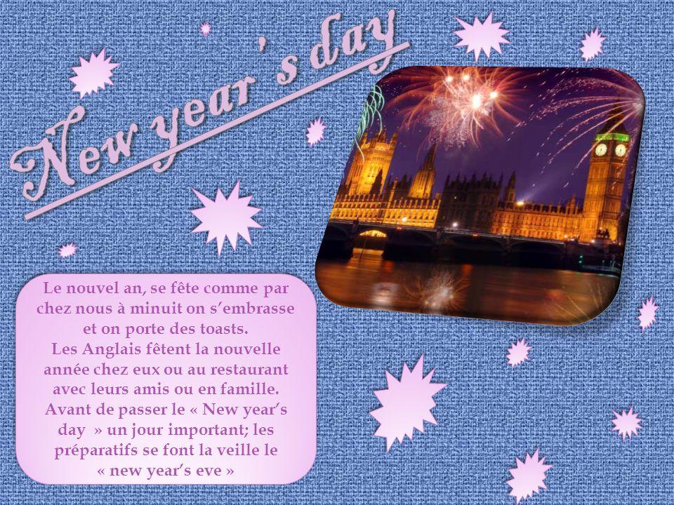 New year's day Le nouvel an, se fête comme par chez nous à minuit on s'embrasse et on porte des toasts.