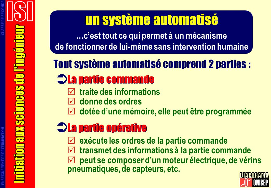 un système automatisé ISI Initiation aux sciences de l ingénieur