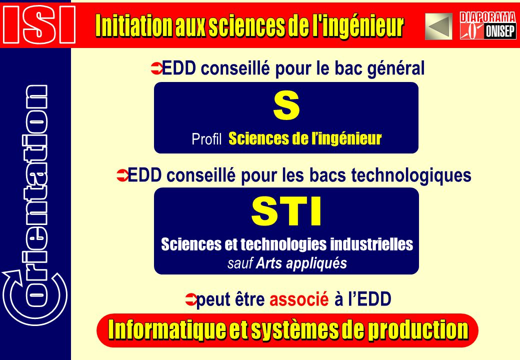 S STI ISI Initiation aux sciences de l ingénieur DIAPORAMA orientation