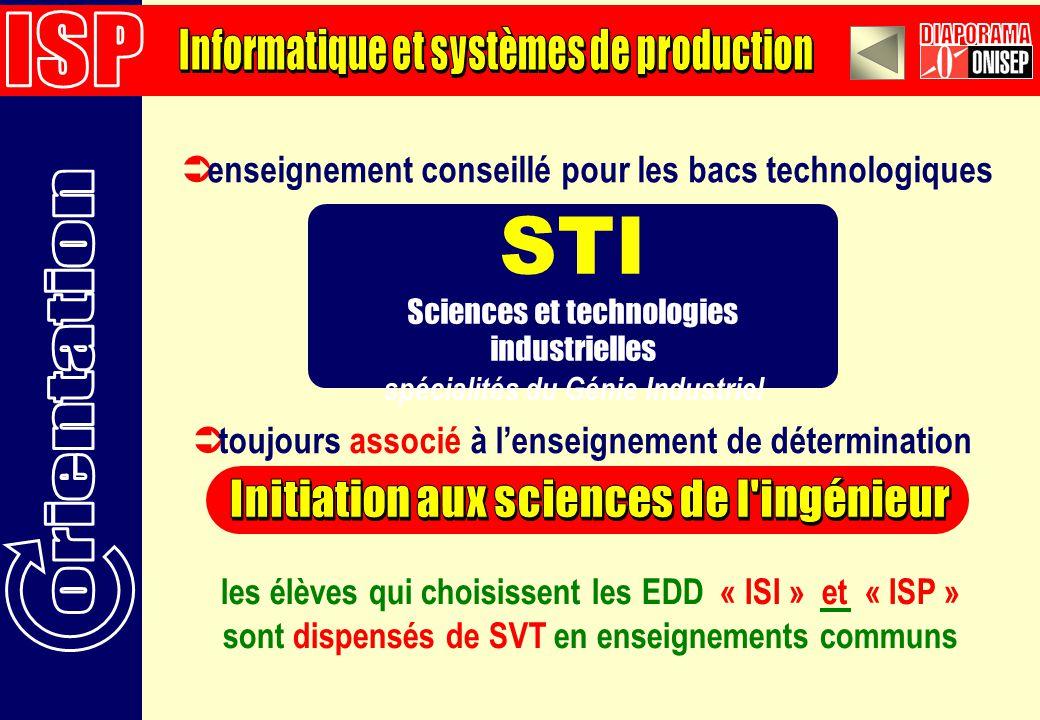 STI ISP Informatique et systèmes de production DIAPORAMA orientation