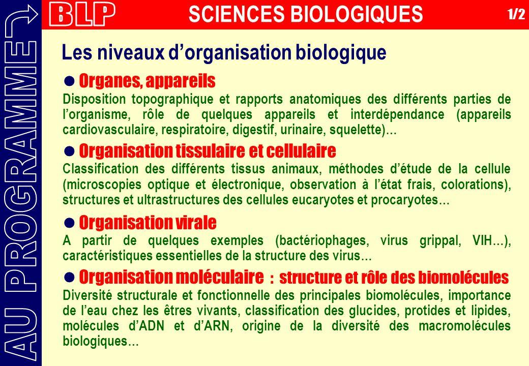 BLP AU PROGRAMME SCIENCES BIOLOGIQUES