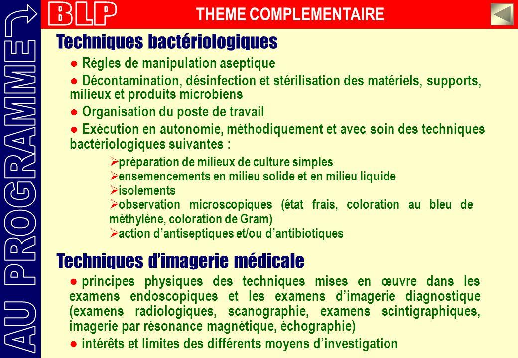 BLP AU PROGRAMME Techniques bactériologiques