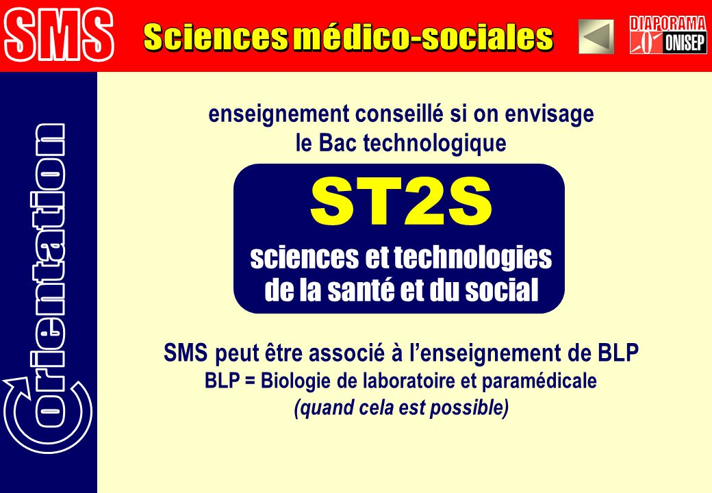 ST2S SMS DIAPORAMA Sciences médico-sociales orientation