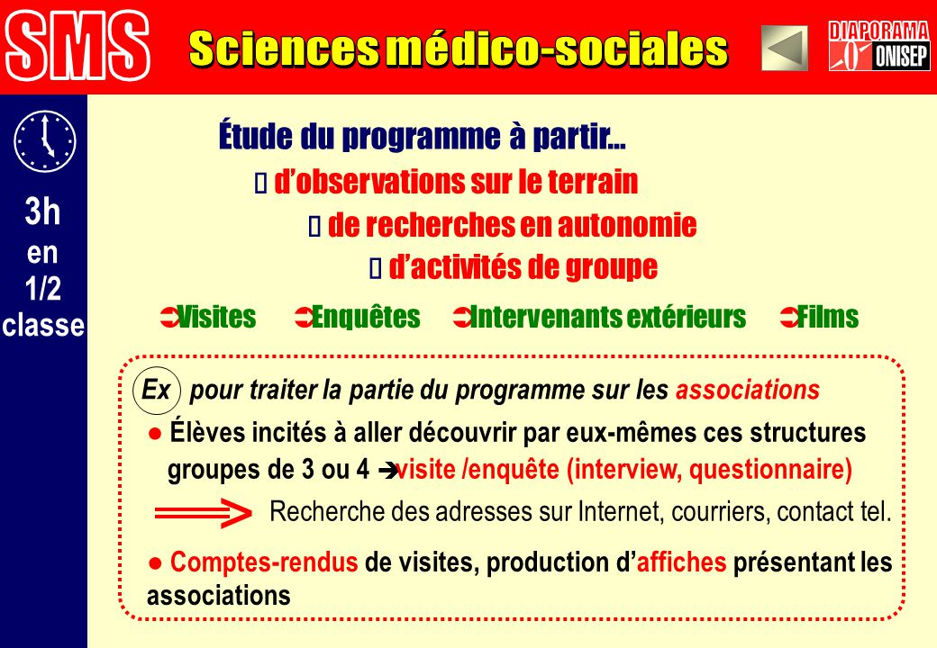 > SMS DIAPORAMA Sciences médico-sociales 3h