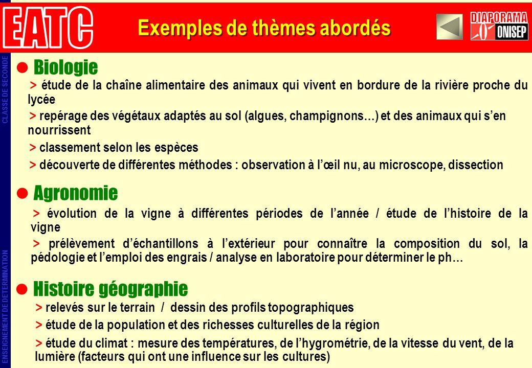 EATC DIAPORAMA Exemples de thèmes abordés Biologie Agronomie